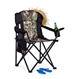 Relaxdays Green Camping, <span class='highlight'>Foldable</span> Fishing Chair with Side Pocket & 2 Drink Holders, <span class='highlight'>Portable</span>, 113 kg Capacity, Black