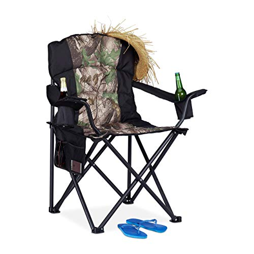 Relaxdays Fauteuil de pêche, Chaise de Camping Pliante, Porte-Boissons, Poche de Rangement, 113 kg, Noir, Vert foncé