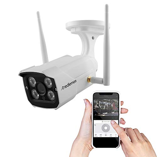 Redlemon Cámara de Seguridad WiFi High Definition para Exteriores, Resistente al Agua, con Visión Nocturna, Alarma de Detección de Movimiento y Monitoreo en Tiempo Real vía Smartphone Android o iOS
