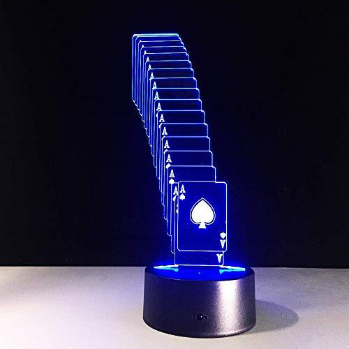 Luz de ilusión 3D luz de noche LED creativo USB póquer mago decoración 7 colores que cambian de color control remoto regalo de Navidad mejor regalo de cumpleaños para niños