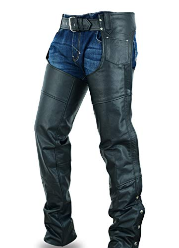 Highway Leather Lined Chaps Motorcycle Riding Bikers Black Lined Leather Chap (S)