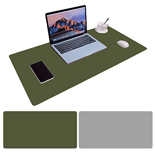 Alfombrilla para Ratón,900 x400x2mm Ultra fino Antideslizante e impermeable alfombrilla para escritorio del cuero de la PU Super-Portátil Alfombrilla con Doble cara (Verde oscuro+Gris)