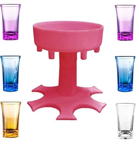Weinglas-Spender für 6 Flaschen, Weinglas-Spender, Halter-Set, 6 Flaschen, Weinglas-Spender, mit Becher, Partygeschenk, Trinkspiel, Rot