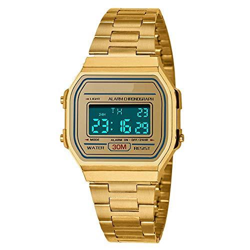 SXXYTCWL Tendencia de la Moda de los Hombres de Negocios al Aire Libre Reloj Luminoso Impermeable de los Deportes de la Personalidad Pantalla Digital Square Reloj electrónico jianyou (Color : Golden)