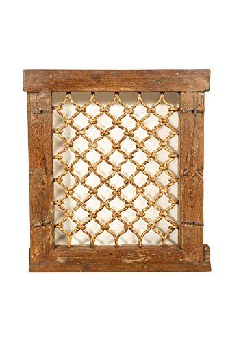 Biscottini Ventanilla de madera maciza y de hierro antiguo y antiguo Medieval con marco de interior o exterior