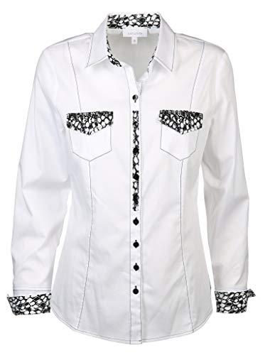 Just White Damen Bluse Größe 42 EU Weiß (weiß)