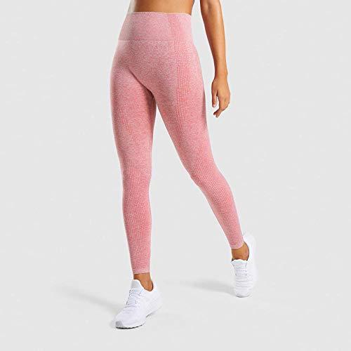 quming Levantamiento De Cadera Medias,Pantalones de la Yoga de la Aptitud del Telar jacquar, Pantalones Apretados Femeninos de la Yoga de la Cintura Alta-Pink_L