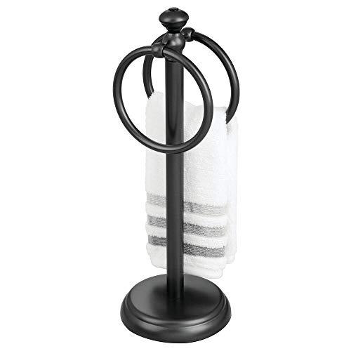 mDesign Handdoekhouder voor de wastafel, vrijstaande handdoekstandaard met 2 ringen voor kleine gastendoekjes, compacte handdoekhouder van metaal, zwart
