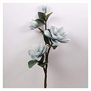 JSJJAED Artificial Flowers 99cm 3D Lifelike Magnolia Branch Silk 3 Head Flowers Artificial Fake Flower for Wedding Decorate Home Decoration Party Accessories