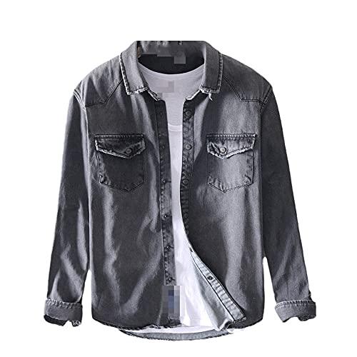 JJBKT Camisa de algodón de manga larga para hombre Color sólido con decoración de bolsillo de algodón elegante camisa delgada chaqueta
