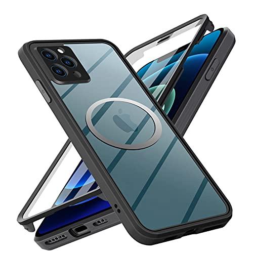 Neeliup Funda para Estuche con iPhone 11,[Vidrio Transparente de Doble Cara con Protector de Pantalla][Apoyar mag-Safe][100% de Sensibilidad Táctil con Protección de Cámara]para iPhone 11