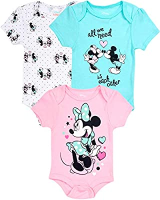 Disney Baby Girls Newborn Minnie Mouse Bodysuits (3 Pack), Size 3-6 Months, All We Need Pastels