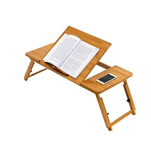 Mesa Ordenador Portatil Multifuncional de bambú Lap Desk que sirve el desayuno bandeja de la cama del ordenador portátil de escritorio con patas plegables (Patas regulables en altura) Escritorio del R