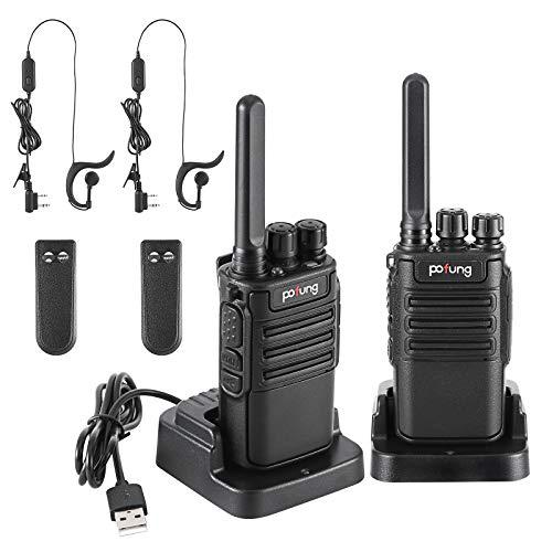 pofung Funkgerät Walkie Talkie 2X, PMR446 1500 mAh 16 Kanäle 6 km Reichweite Wiederaufladbarer Funkempfang, mit wiederaufladbarer Taschenlampe (2 Stück) (F8)