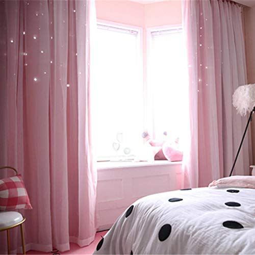 Princesa Stars Curtains, Elegant Voile Panel Double Layer Hollowed Starry Blackout Cortinas Romántico Decorativo Cortina de ventana de Bahía para la sala de estar Dormitorio