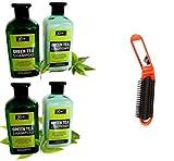 2 Champús + 2 Acondicionadores Naturales-Sin Parabenos-Sin Sulfatos-Cuidado Cabello Hidratante-Té Verde-Anticaspa-Anticaída-400 ml x 4 = 1,6 Litros + cepillo de pelo plegable gratuito