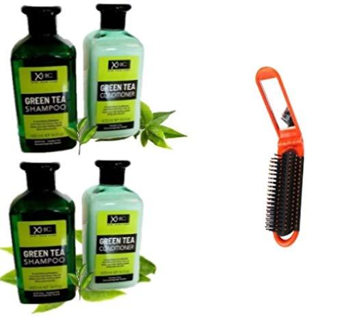 2 Shampoings + 2 Après Shampoings Naturels-sans paraben-sans sulfate-Soins Cheveux Hydratant-au Thé vert-Antipelliculaire-Antichute-400 ml x 4 = 1,6 Litres + brosse Cheveux pliable offert