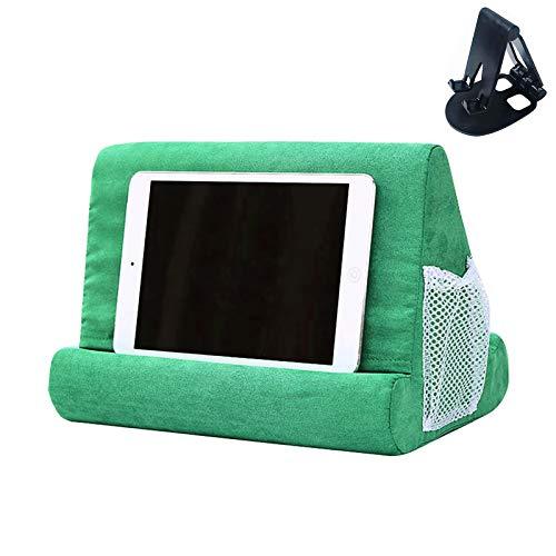 Soporte para tableta con bolsillo de red y soporte para tableta de varios ángulos de color aleatorio, soporte para rodilla, rodilla, sofá y cama, soporte universal para teléfono (verde claro)