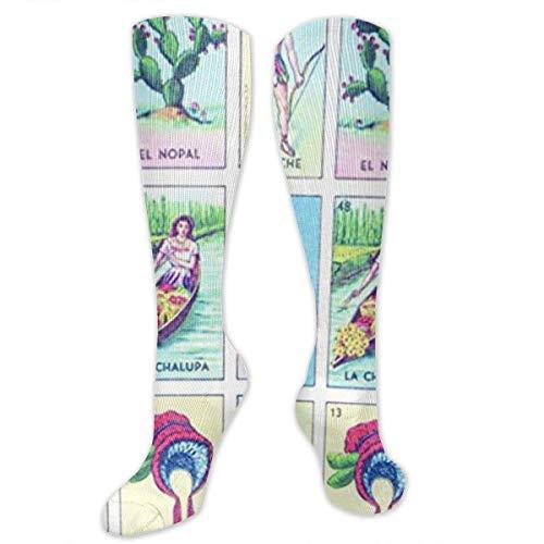 Jxrodekz Chaussettes de Compression Loteria Colorful Xmas Gifts pour Femmes et Hommes Traitement médical, pour la Course à Pied, athlétique, Varices,