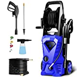 WHOLESUN 3000PSI Pressure Washer Electric 1.8GPM 1600W High Power Washer Machine with Spray Gun & 4 Nozzles (Blue)
