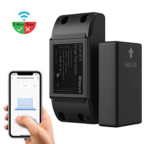 Orbecco WLAN Smart Garagentoröffner, 1 Stück WiFi Garagentor Controller Kompatibel mit Google Home/Alexa/Siri,Timer und APP-Steuerung, Kein Hub Erforderlich - Schwarz