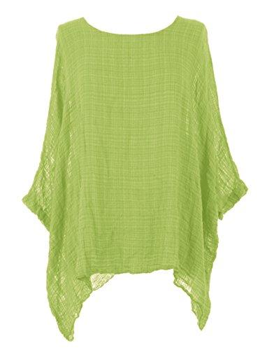 TEXTURE Ladies Women Italian Lagenlook Plain Batwing Short Sleeve Textured Kaftan Tunic Top Blouse One Size (Lime Green, One Size)