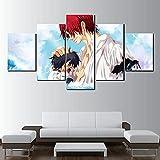 QWASD 5 Paneles Cuadros En Lienzo Imágenes Decorativas Anime Japones Cuadros Decoracion Salon Modernos 3D,5 Piezas De Lienzo,Impresiones En Lienzo Decoración para El Arte