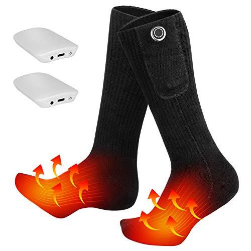 Clheatky Calcetines Calefactables para Hombre y Mujer, Eléctrico Calcetines Calientes Climatizada 3.7V 2000mAh Calentadas Calentador de Pies Ideal para Esquí Senderismo Pesca Cámping (Negro, XL)