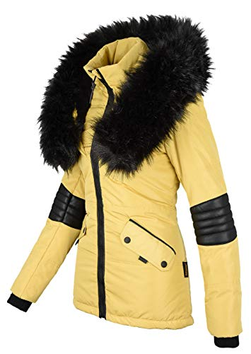 Navahoo Damen Winter Jacke Designer Parka Kunstfell Winterjacke B369 [B369-Nirvana-Gelb-Gr.M]