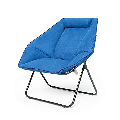 Cylficl Abnehmbarer und waschbarer großer Erwachsener Balkon-Klappstuhl Home Lazy Couch Chair Butterfly Chair Sonnenliege (Color : Blue)