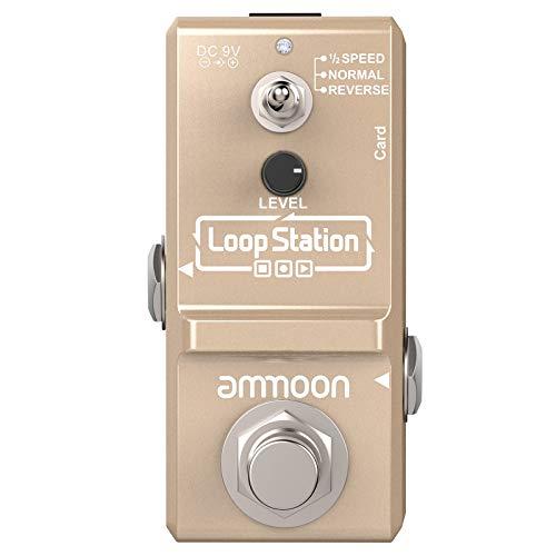ammoon Pedal Efecto Guitarra Eléctrica Nano Loop True Bypass Looper Ilimitadas 10 Minutos de Grabación con Cable USB,Oro