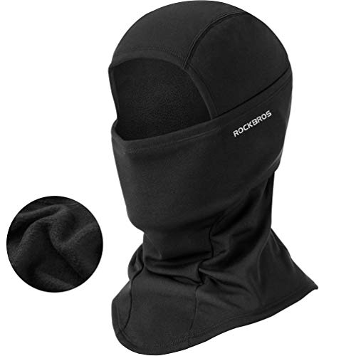 ROCK BROS Men's Balaclava Windproof Ski Mask for Cold Weather Balaclava Face Mask Winter Thermal Fleece Hood for Motorcycle Cycling Helmet Outdoor Activities Black