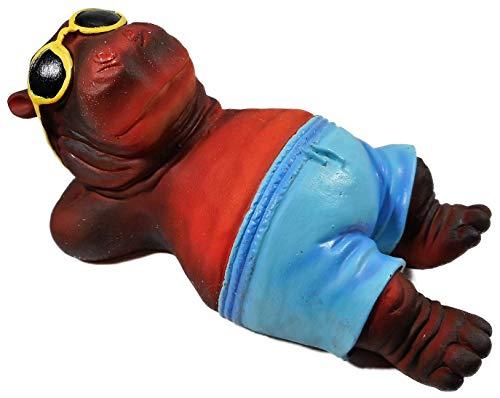Odekerken Nilpferd Karl chillt 20 x 11 cm Hippo mit Sonnenbrille und Badehose Tier Figur Deko F09