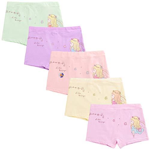 FAIRYRAIN 5er Pack Kinder Mädchen Baumwollene Unterwäschen Bequeme Gemischte Unterhosen Unterwäsche Boxershorts