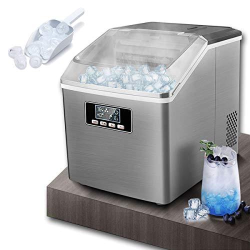 EnweGey Eismaschine, Eiswürfelmaschine, Edelstahl Eiswürfelmaschine mit Wasserspender, Selbstreinigungs Funktion, LCD Display, Timer-Funktion, 48LBS / 24H Automatische Eismaschine für zu Hause/Büro