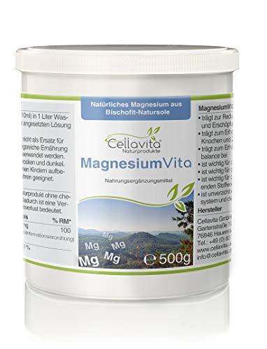 CELLAVITA Magnesium Vita (100{d4a673ba0cd06c859787e5846f28eb6a4843aceedb5d9373eade4fd62fb85953}) 500g | mit natürlichem Magnesium aus Bischofit - Natursohle / 100{d4a673ba0cd06c859787e5846f28eb6a4843aceedb5d9373eade4fd62fb85953} Magnesiumchlorid (Hexahydrat)