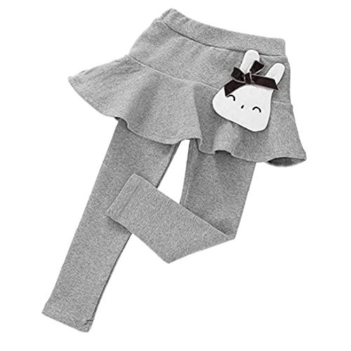 Tuimiyisou Pantalones Largos para niñas para niñas bebé Pantalones Largos Pantalones Largos con Falda de Pantalones de Chiste de algodón Dibujos Animados Gris 90 cm