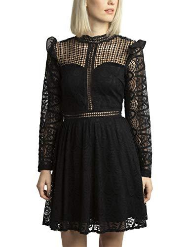 APART Zauberhaftes Damen Kleid, Spitzenkleid, Cocktailkleid, Partykleid, schwarz, teilweise transparent, weiter Rockpart, festlich