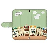 スマQ iPhone7Plus iPhone 7 Plus 国内生産 カード スマホケース 手帳型 Apple アップル アイフォン セブンプラス 【B.グリーン】 町並み イラスト ami_vd-0252
