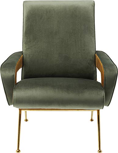 Kare Design Sessel Luna High Grün, Designersessel in Grün mit geschwungenen Armlehnen, filigranes goldfarbenes Gestell, Samtsessel Modern (H/B/T) 93x74x88cm