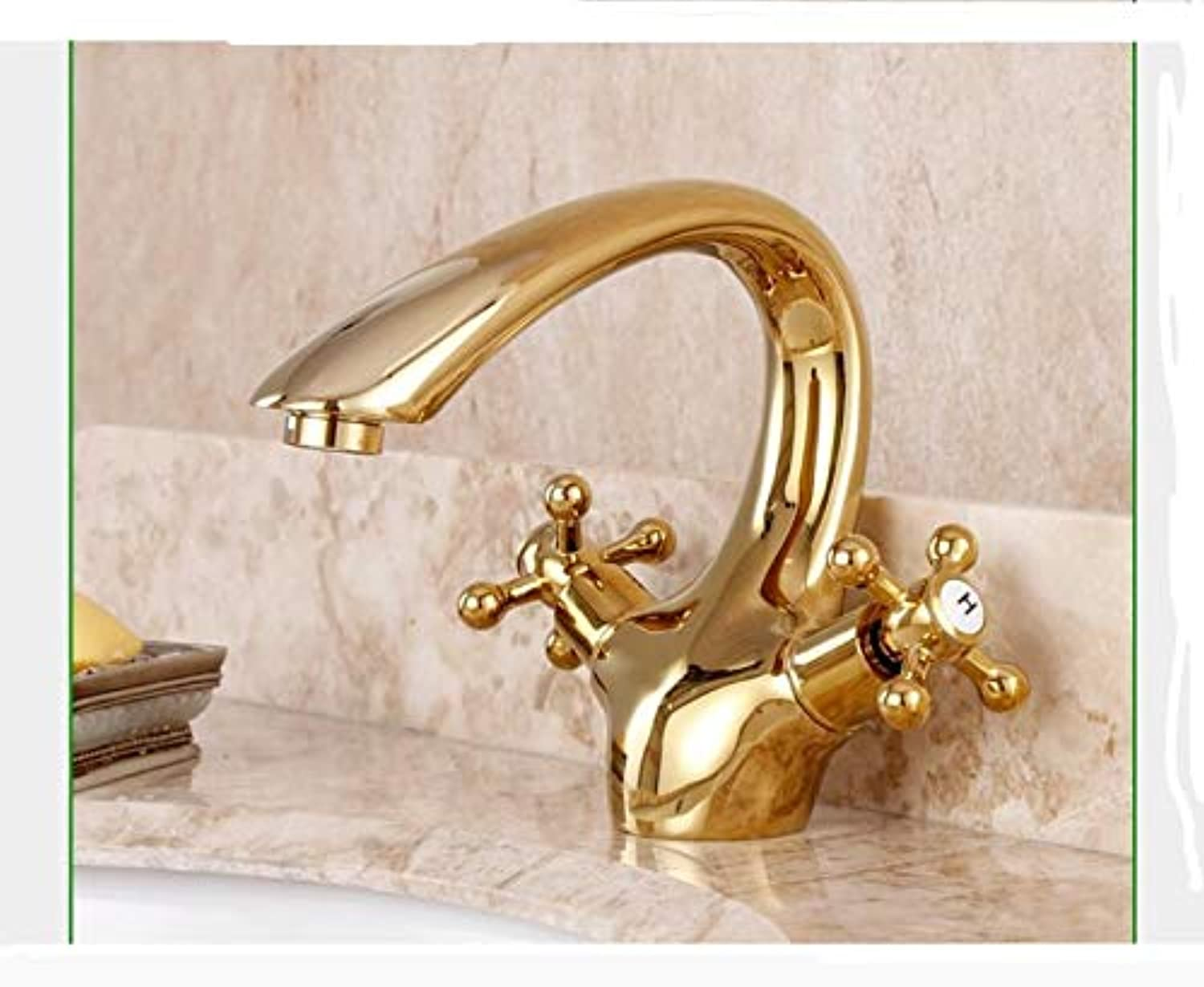 BBQBQ Hot and cold basin faucet antique faucet gold-plated double handle basin faucet European style