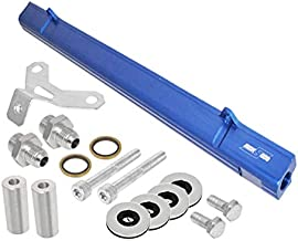 Fit Toyota 2JZGTE / JZA80 / 2JZ-GTE / 2JZ (Turbo Engines Only) Aluminum Top Feed Fuel Injector Rail Blue with Silver Fittings