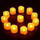 Qxmcov Velas LED, [12 PC] Velas LED Efecto Llama, Velas con Pilas, Velas Eléctricas con Baterías para San Valentín, Cumpleaños, Navidad, Halloween, Festivales, Bodas Decoración [Amarillas Cálidas]