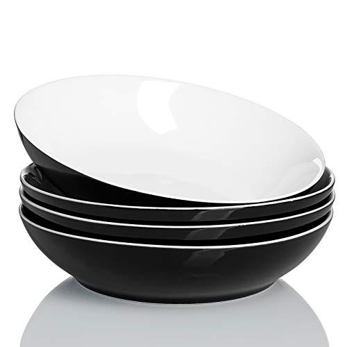 Sweese 113.112 Porcelain Large Salad Pasta Bowls - 45 Ounce 1.3 Quart - Set of 4, Black