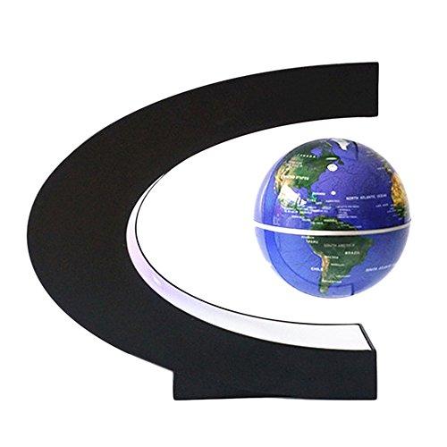 BEETEST Levitación Magnética Flotante Mapa del Mundo Globo Flotante Luz LED C Forma Base Giratoria Planeta Tierra Globo Para Decoración de Escritorio Regalo de Cumpleaños de Navidad