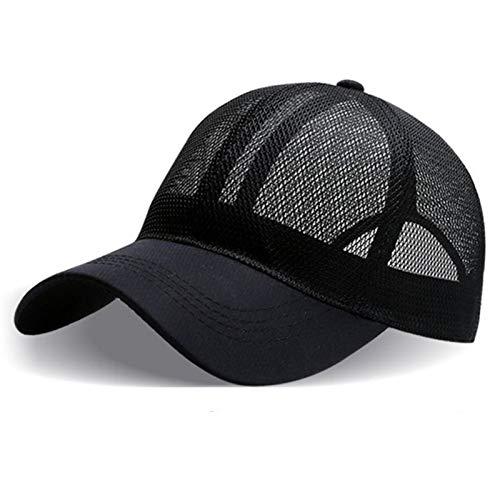 Ftule Gorra de Beisbol, Gorras de béisbol de Malla Llena de Hombres y Mujeres, Sombreros de Protector Solar de Golf al Aire Libre, Sombreros de Rebote Ajustables (Color : Black, Size : 55-60cm)