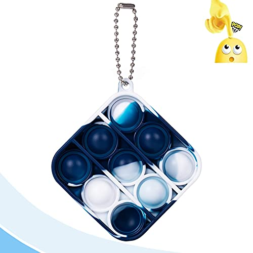 Jesokiibo Mini Push Bubble Gadgets Sensory Toys, Mini Gadgets Popular Toy Keychains, Gadgets Toys for Children and Adults, Desk Toys, Stress-Relieving Gifts for Boys and Girls (Square Style 3)