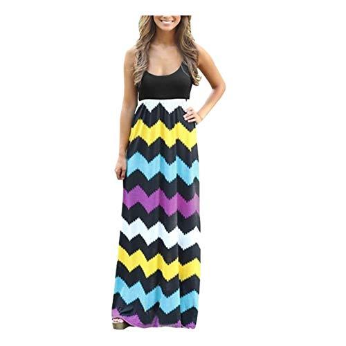 YANFANG Vestido Largo Bohemio a Rayas Casual para Mujer Vestido Largo de Verano de Playa de Dama Sundrss Maxi,Vestidos Sueltos de Talla Grande Sólidos de Verano,Multicolor,L