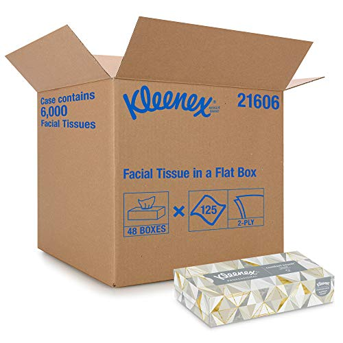 Kleenex Professional Facial Tissue for Business 21606 Flat Tissue Boxes 48 Boxes / Case 125 Tissues / Box