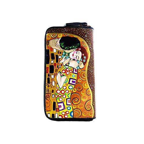 Portafoglio da donna in pelle dipinta a mano - IL BACIO DI KLIMT - Portafogli Donna, Vera Pelle, Made in Italy, con cerniera lampo, porta carte credito, Lavorazione Artigianale